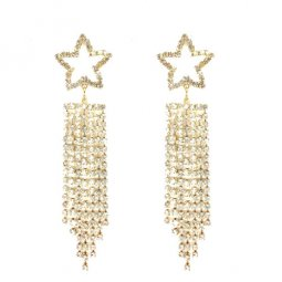 A-LG-ER0014(4) Korean Style Crystal Star Dangling Golden Earstud