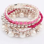 P105088 Pink gold ealstic korean bracelet accessories shop