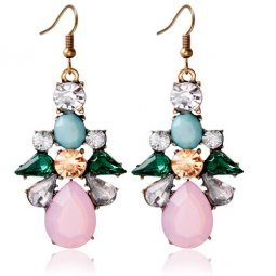 A-HY-E241 Colourful Spring Crystals Flower Hook Earrings Malaysi