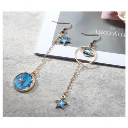 A-LG-ER0369globe2 Korean Blue Moon & Star Universe Hook Earrings