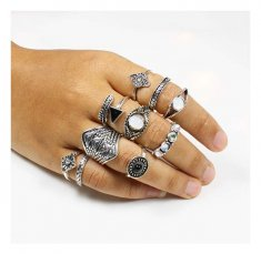 A-UN-R001 Accentric Vintage Carving Silver 10 Pieces Rings Set