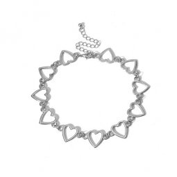 A-DW-C2050 Silver Heart Chain Choker Necklaces Malaysia