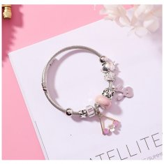 A-MS-K4419 Dreamy Pink Flower Crystal Pendants Charming Bracelet