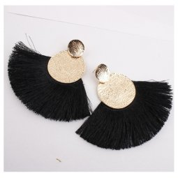 A-SD-XL0106BLACK Black Tassel With Golden Circles Earstuds