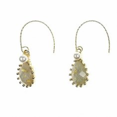 B-MSY-226E1 Hook Gold Korean Elisha Pearl Diamond Earrings