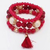 P119892 Pink purple bead elastic bracelet accessories shop