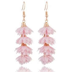 A-KJ-E020655lp Light Pink Flora Tassel Hook Earrings Wholesale