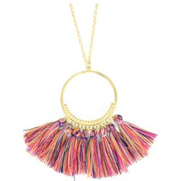 A-SD-XL112545 Mix Colours Tassel Ring Long Necklace