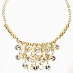 B-MLSF-116- Gold Classic Big Circle Diamond Statement Necklace