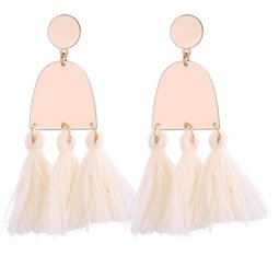 P130126 White Elegant Gold Korean Inspired Tassel Earstuds