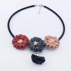 P125720 Cloth spring flower dangling statement necklace