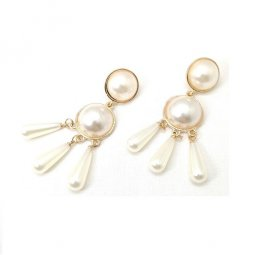 A-SD-ER102980- Classic Two Circle Pearl 3 Strip Pearl Earring