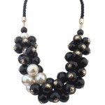 P113823 Black beads pearl elegance statement necklace borong kl