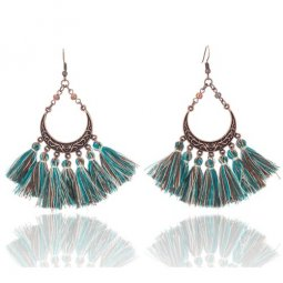 A-SD-E020960g Green Brown Bohemian Moon Tassel Earrings