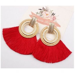 A-SD-XL113251goldred Red Huge Tassels Gold Ring Vogue Earstuds