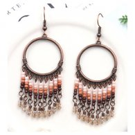 A-HH-HQEF1450(brown) Earthy Brown Beads & Crystal Circle Earring