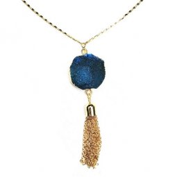B-FFOM-N12-Classic Gold Blue Long Necklace
