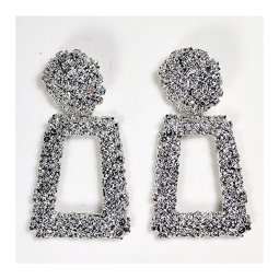 A-QD-E300silver Silver Statement Bulky Shiny Circle Square Ear