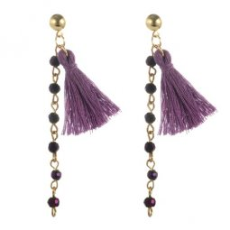 A-YG-sku4773p Purple Bead Dangling Tassel Hook Earrings