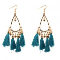 P129068 Green Tassel Oval Elegant Hook Earrings Malaysia Shop
