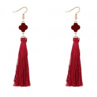 P127552 Red Clover Flower Tassel Earrings Wholesale Shop
