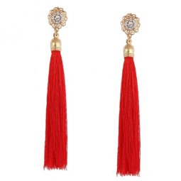 A-QD-E0621red Red Rose Crystals Red Tassel Earstuds