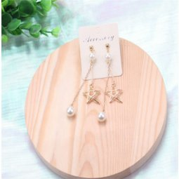 A-SQM-214white Gold Star White Bead Dangling Korean Earstuds