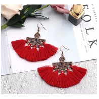 A-HH-HQEF1591maroon Red Semi Circle Tassel Hook Earrings