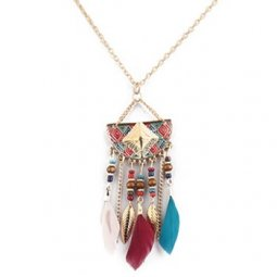 P126784 Colourful Dreamcatcher Long Necklace Malaysia Online Sho