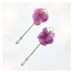 A-LG-ER0378(purple) Purple Flower Dangling Bead Korean Hooks