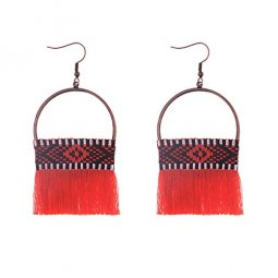 A-DW-HQE868RED Red Chili Tassels Plaited Design Ring Hook Earrin