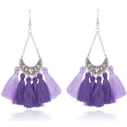 A-KJ-E020274 Purple Crystals Tassel Dangling Hook Earrings Shop