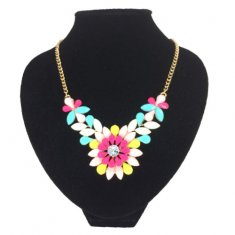 A-CJ-9117-c yellow neon pink flower beads gold statement necklac
