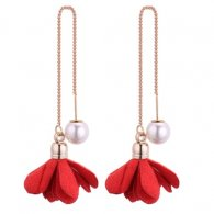 P130509 Red Flower Elegant Pearl White Linked Earstuds