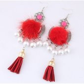 C101233140 Red Cloth White Beads Dangling Hook Earrings