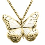 C11051384 White butterfly vintage korean long necklace malayasia