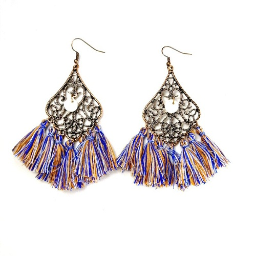 A-HH-UK-8 MIX1 BLUE BROWN COLOUR HOOK TASSEL EARRING - Click Image to Close