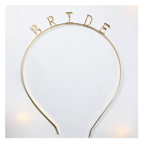 A-BB-400 Gold Simple Bride Wording Wedding Headband - Click Image to Close