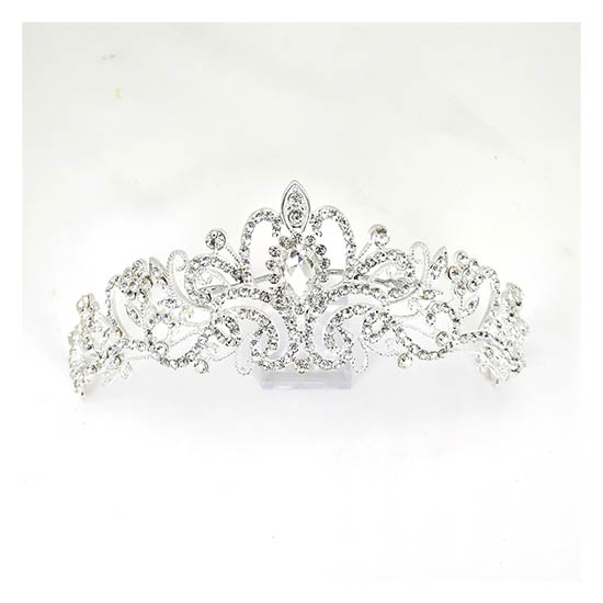 A-BL-crystal Crystal Studded Tiara Bridal Elegance Crown Headpie