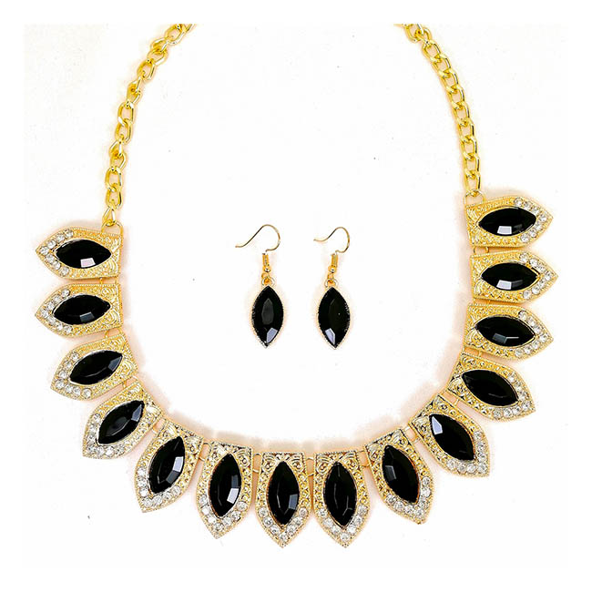 A-CJ-9065B Black Crystal Beads Korean Classy Statement Necklace - Click Image to Close