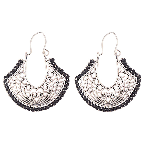 A-DW-HXE043black Vintage Silver Love Black Hook Earrings - Click Image to Close
