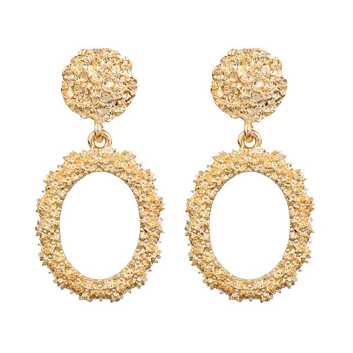 A-FX-6095GD Gold Circle Texture Minimal Fashion Trendy Earstuds - Click Image to Close