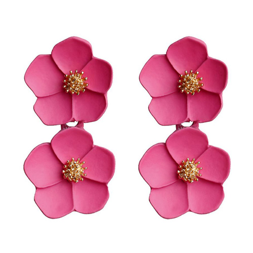 A-FX-6491R Double Dark Pink Flowers Trendy Fashion Earstuds - Click Image to Close