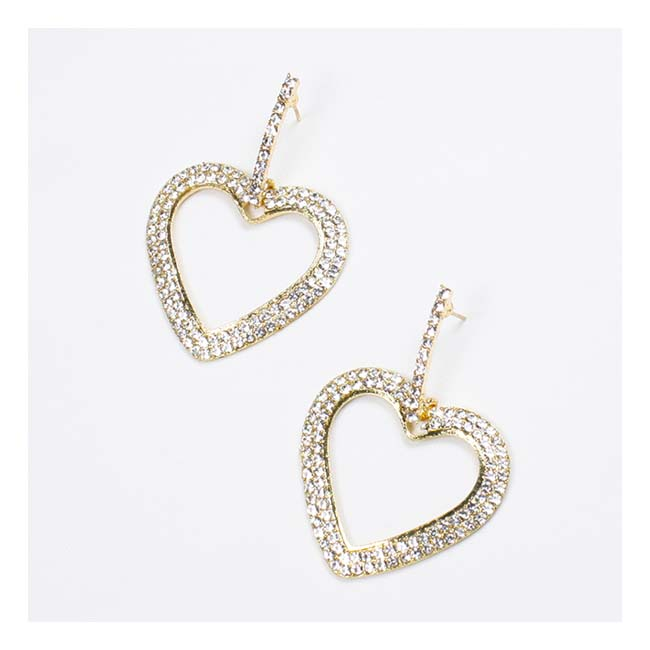 A-FX-E3135 Statement Heart Shape Crystal Studded Korean Earrings - Click Image to Close