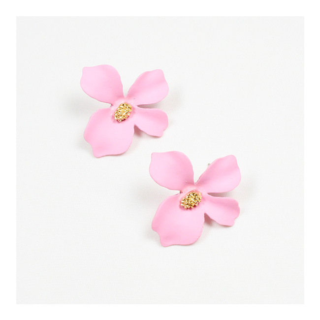 A-FX-E3545Pink Pink Petite Flower Korean Style Earstuds Fashion - Click Image to Close