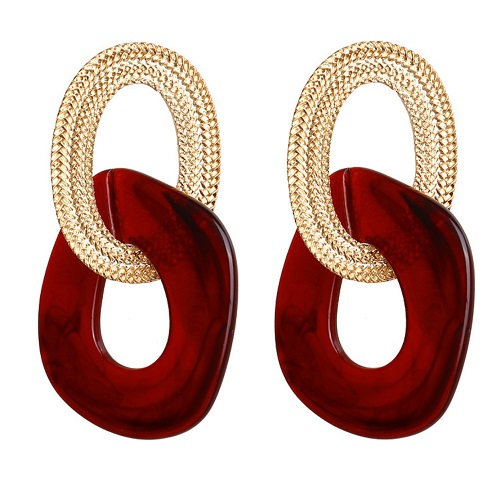 A-FX-E5136 -Red Square Gold Classic Earstud Earrings