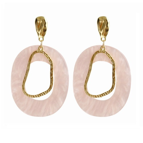 A-FX-E6033-1- Pink Circle Gold Simple Eartuds Earrings