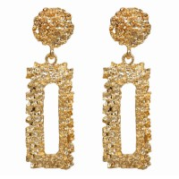 A-FX-E6037gold Gold Rectangular and Circle Earstud