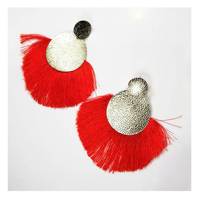 A-FX-E6048red Red Spread Tassel Textured Gold Plate Earrings - Click Image to Close