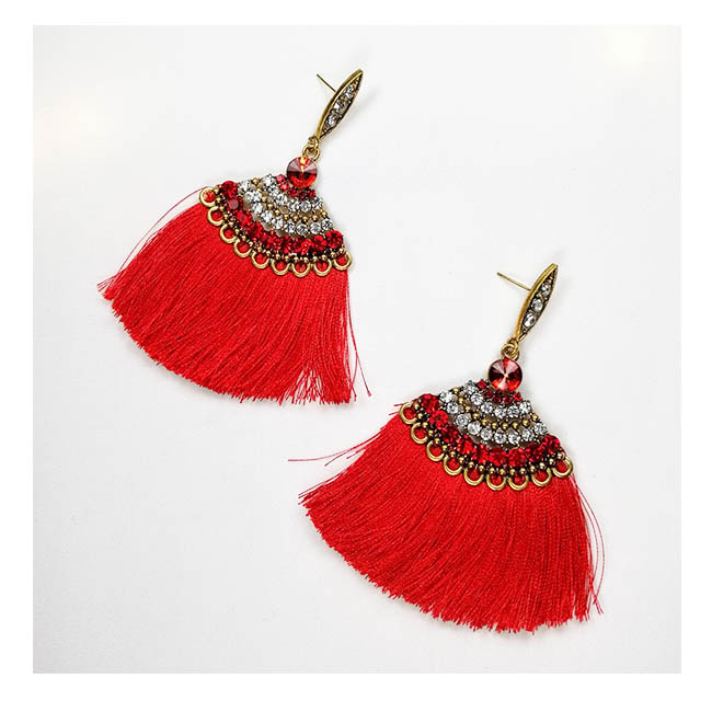 A-FX-E6098red Red Tassel Bollywood Style Statement Earrings - Click Image to Close